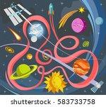 outer space vector doodles ... | Shutterstock .eps vector #583733758