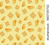 watercolor cheese pattern | Shutterstock . vector #583735732