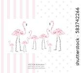 vector pink flamingo images...   Shutterstock .eps vector #583742266