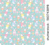 vector seamless pattern with... | Shutterstock .eps vector #583743898