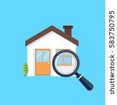 magnifying glass with house... | Shutterstock .eps vector #583750795