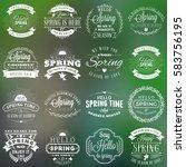 spring vintage typographic... | Shutterstock .eps vector #583756195