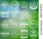 spring vintage typographic... | Shutterstock .eps vector #583756492