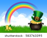 st.patrick's day symbols pot of ... | Shutterstock .eps vector #583763395