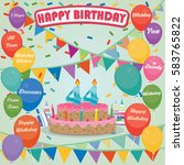 44th birthday cake and...   Shutterstock .eps vector #583765822