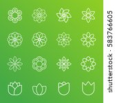 flowers vector icons on green... | Shutterstock .eps vector #583766605