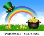 st.patrick's day symbols pot of ... | Shutterstock .eps vector #583767058