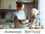 happy family in the kitchen.... | Shutterstock . vector #583771222