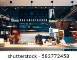 Stock photo cafe interior with bar counter 583772458