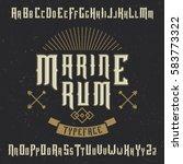 handcrafted 'marine' typeface... | Shutterstock .eps vector #583773322