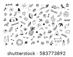 doodle objects funny set | Shutterstock .eps vector #583773892