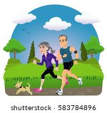 Middle Aged Couple Running