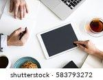 work process hands office... | Shutterstock . vector #583793272
