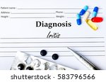 Small photo of Iritis - Diagnosis written on a piece of white paper with medication and Pills