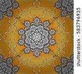 golden element on yellow... | Shutterstock .eps vector #583796935