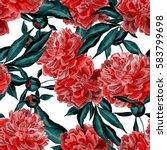 watercolor peony seamless...   Shutterstock . vector #583799698
