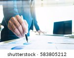 working business people analyse ... | Shutterstock . vector #583805212