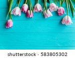 wooden blue background and pink ...   Shutterstock . vector #583805302