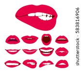 woman lips expression vector... | Shutterstock .eps vector #583816906