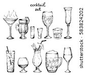 cocktails   set of hand drawn... | Shutterstock .eps vector #583824202