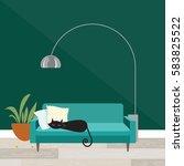 cozy room scene with sleeping... | Shutterstock .eps vector #583825522