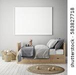 mock up poster frame in... | Shutterstock . vector #583827718