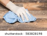 wooden floors cleaning with rag ... | Shutterstock . vector #583828198