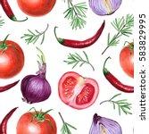 tomato  onion  pepper  and...   Shutterstock . vector #583829995