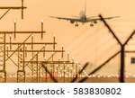 airplane or aeroplane landing... | Shutterstock . vector #583830802