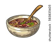 chili con carne in bowl with...   Shutterstock .eps vector #583835605