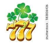 triple seven number.  lucky 777....   Shutterstock .eps vector #583836436