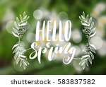 hello spring hand drawn... | Shutterstock .eps vector #583837582