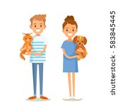 Stock vector people vector with pets 583845445