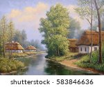 ukrainian landscape river  oil...   Shutterstock . vector #583846636
