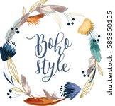 boho style calligraphy... | Shutterstock .eps vector #583850155