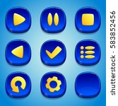 dark blue buttons set. gui...
