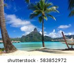 beach in bora bora  tahiti   Shutterstock . vector #583852972