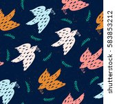 seamless pattern with birds | Shutterstock .eps vector #583853212