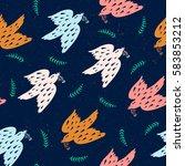 seamless pattern with birds | Shutterstock .eps vector #583853212