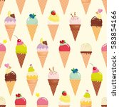 ice cream cone seamless pattern ... | Shutterstock .eps vector #583854166