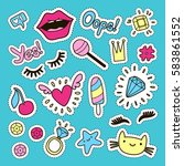fashion cute set  patches ... | Shutterstock .eps vector #583861552