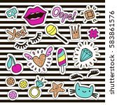 fashion cute set  patches ... | Shutterstock .eps vector #583861576