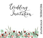 save the date hand lettering... | Shutterstock .eps vector #583865386