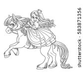 cute princess riding on a horse ... | Shutterstock .eps vector #583871356