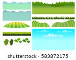 set of game elements. elements...   Shutterstock .eps vector #583872175