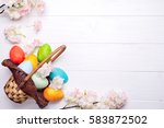 colorful painted easter eggs in ... | Shutterstock . vector #583872502