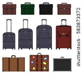 bags compilation. suitcase and... | Shutterstock .eps vector #583873372
