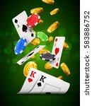 poker chips casino green poster.... | Shutterstock .eps vector #583886752