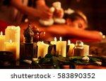 massage of woman in spa salon.... | Shutterstock . vector #583890352