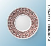 decorative plate with round... | Shutterstock .eps vector #583895146